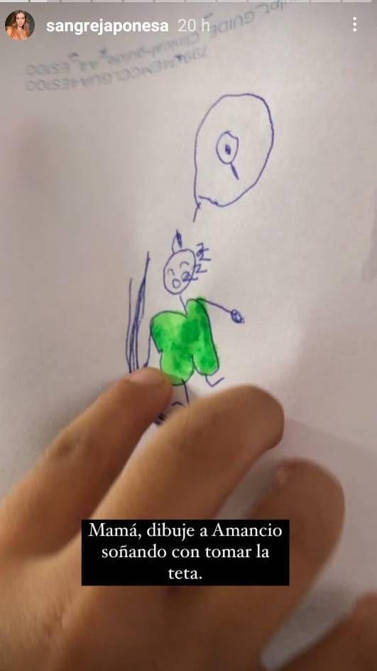 La China Suárez mostró el curioso dibujo que hizo Magnolia para Amancio