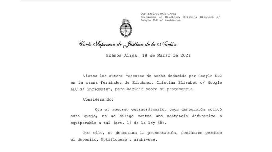cristina kirchner google corte suprema