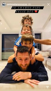 El amoroso posteo de Antonella Roccuzzo a Lio Messi por el Día del Padre en Europa