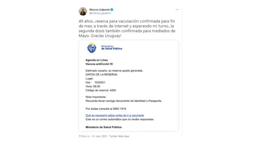 Marcos Galperin Vacuna Uruguay