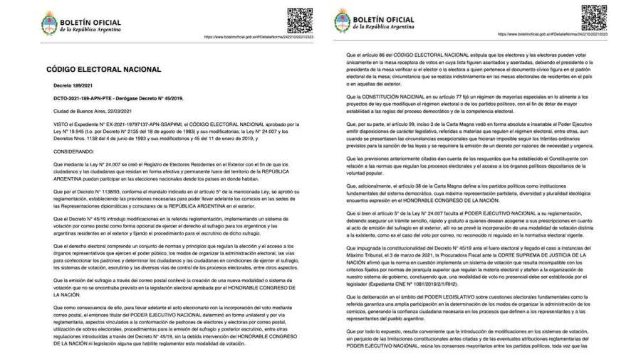 boletín oficial derogación voto exterior