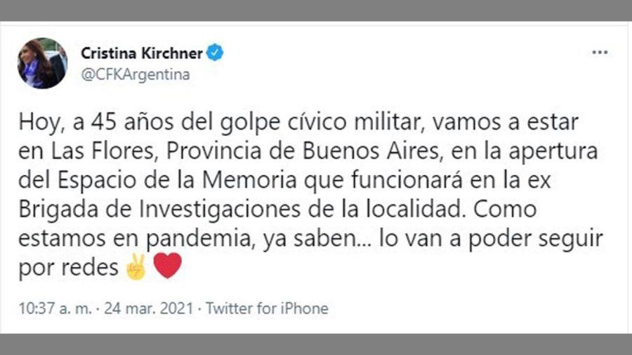 comunicación de Cristina Fernández vía Redes 20210324