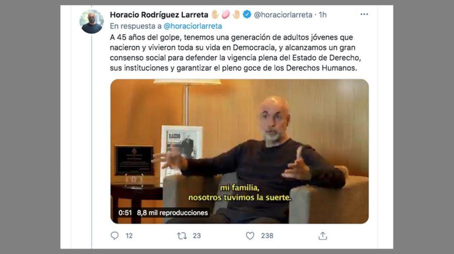Horacio Rodriguez Larreta habla en Twitter 20210324