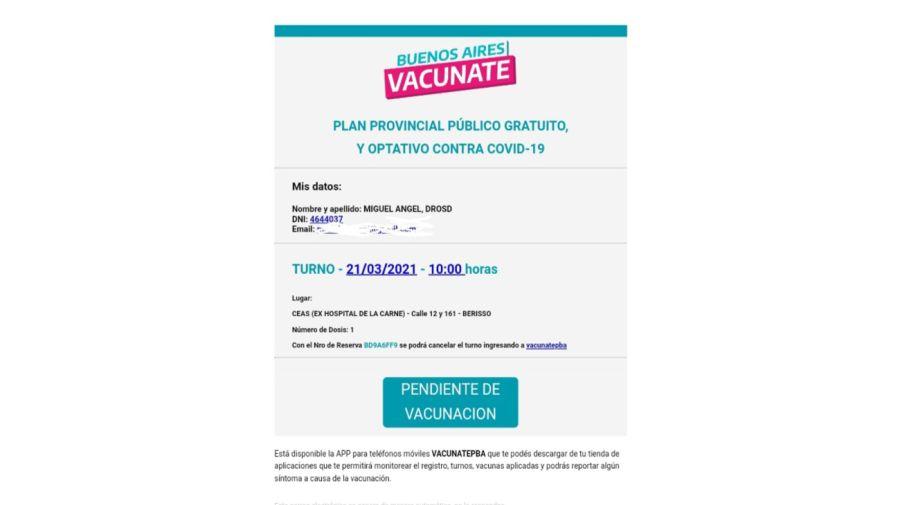 Turno Vacuna Muerto