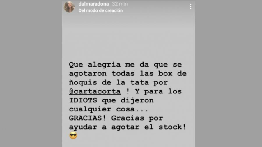 Dalma Maradona posteo