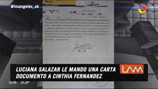 Luciana Salazar le envió una carta documento a Cinthia Fernández para que no hable de ella