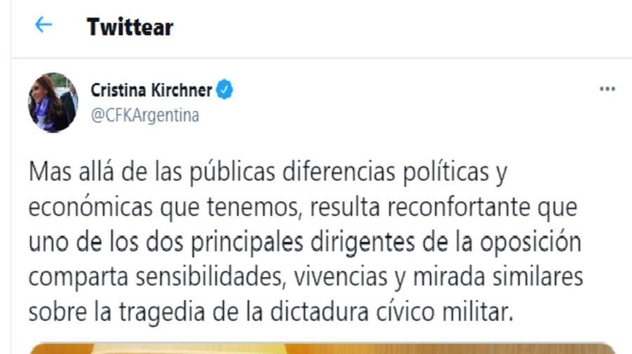 Tuit de Cristina Kirchner sobre Larreta