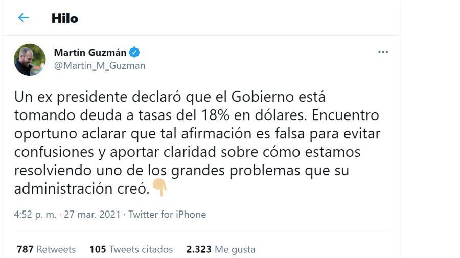 Tuit de Martín Guzmán contra Mauricio Macri.