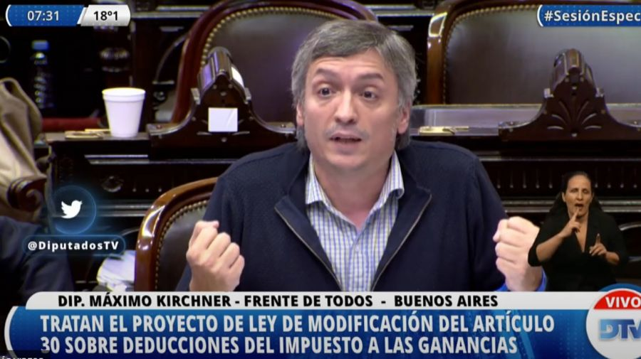 Máximo Kirchner, cerrando el debate de Ganancias en Diputados.