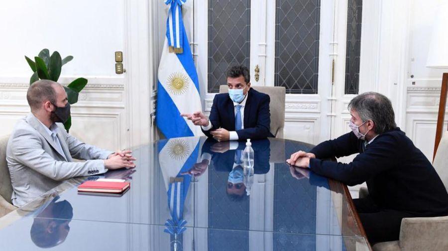 Máximo Kirchner, Sergio Massa y Martín Guzmán 20210329