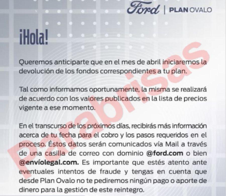 Comunicado Ford marzo
