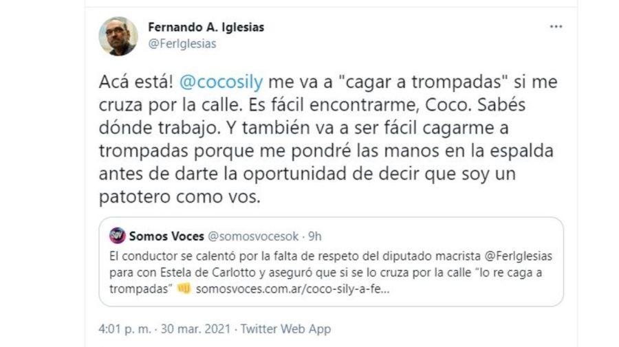 Fernando Iglesias respuesta a Coco Sily