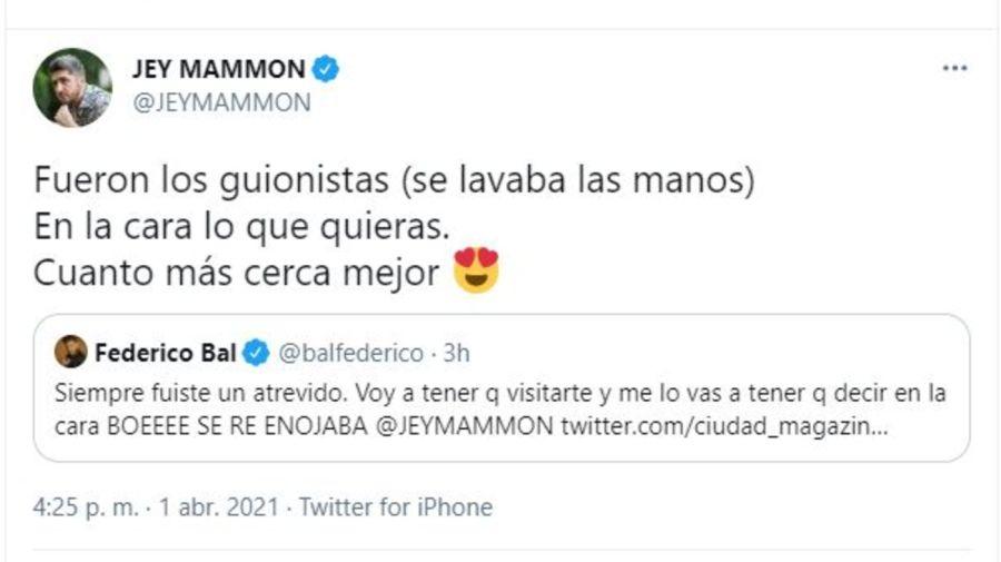 Cruce Jey Mammon y Federico Bal