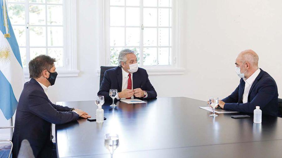 Las reuniones entre Fernández, Kixillof y Larreta marcaron la primera etapa de la pandemia el año pasado.