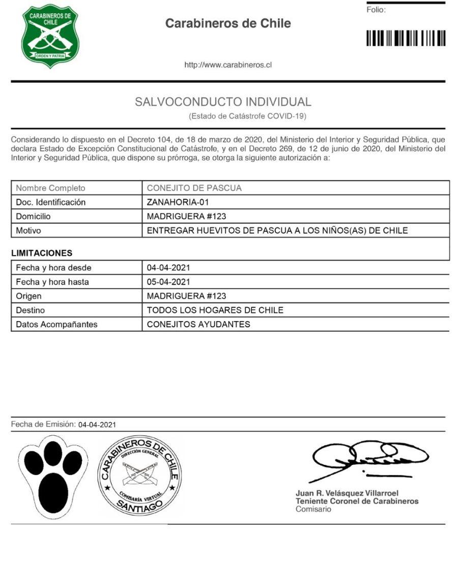 Carabineros de Chile otorgó un salvoconducto al Conejo de Pascua.