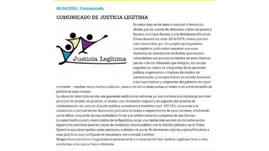 Comunicado Justicia Legítima