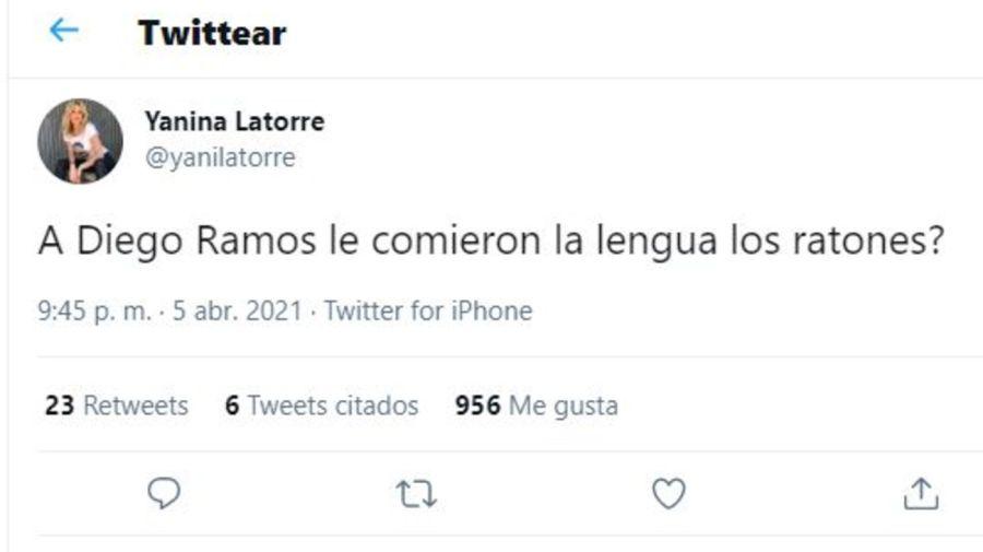Tuit Yanina Latorre por Diego Ramos