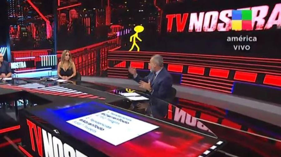 Marina Calabro y Jorge Rial en TV Nostra