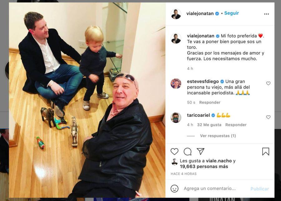 El último mensaje de Jonatan Viale horas antes de la muerte de su padre, Mauro Viale