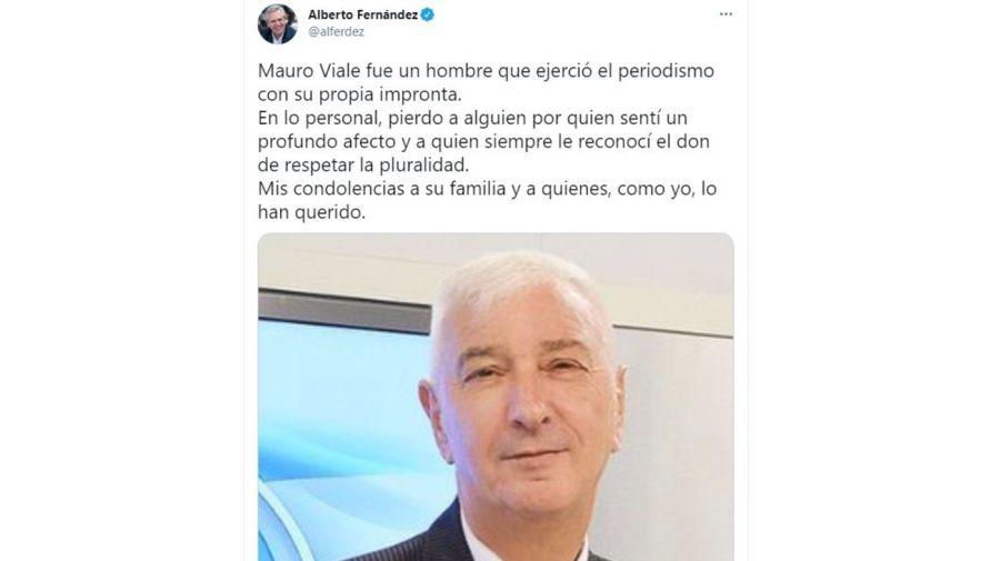 Mensaje Alberto Fernandez por la muerte de Mauro Viale