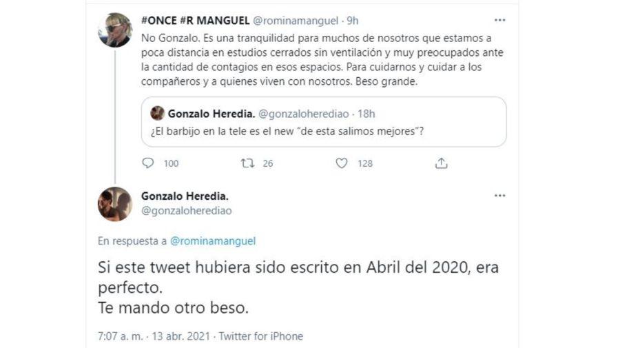 Cruce Romina Manguel y Gonzalo Heredia