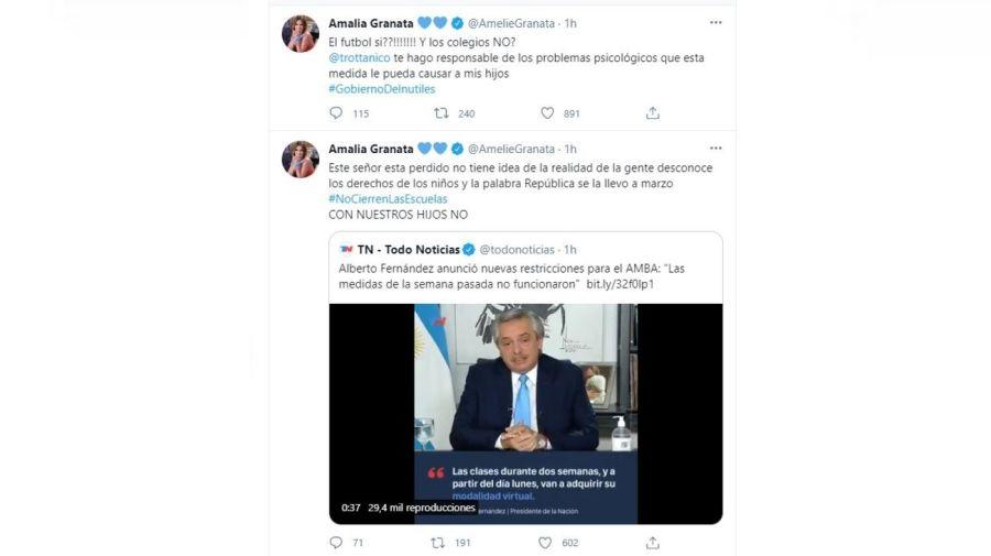 Amalia Granata contra las nuevas restricciones