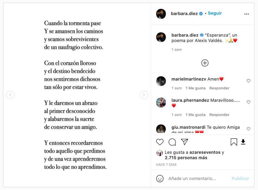 En medio de las nuevas restricciones por COVID, el posteo de Bárbara Diez que cobra especial significado