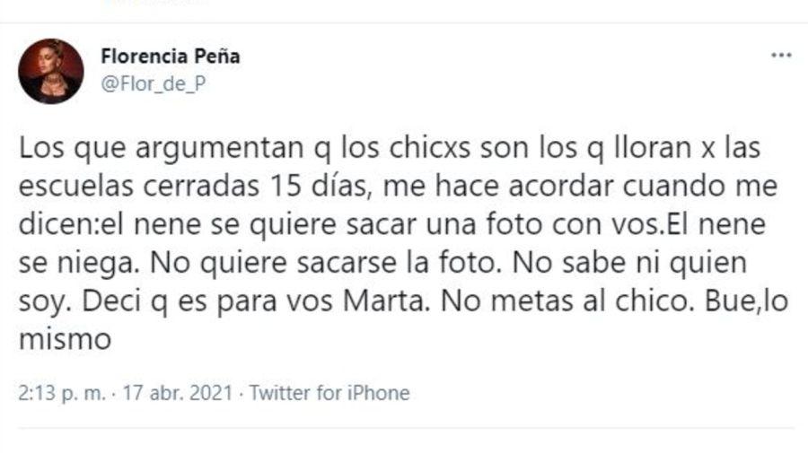 Comentario Florencia Peña suspension clases