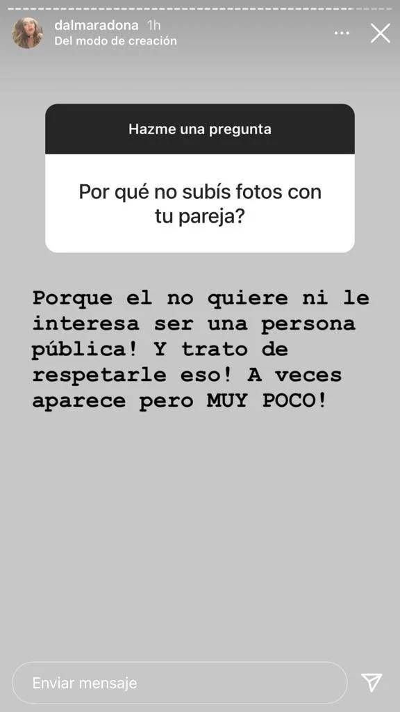 Dalma Maradona reveló por qué no comparte fotos con su marido, Andrés Caldarelli