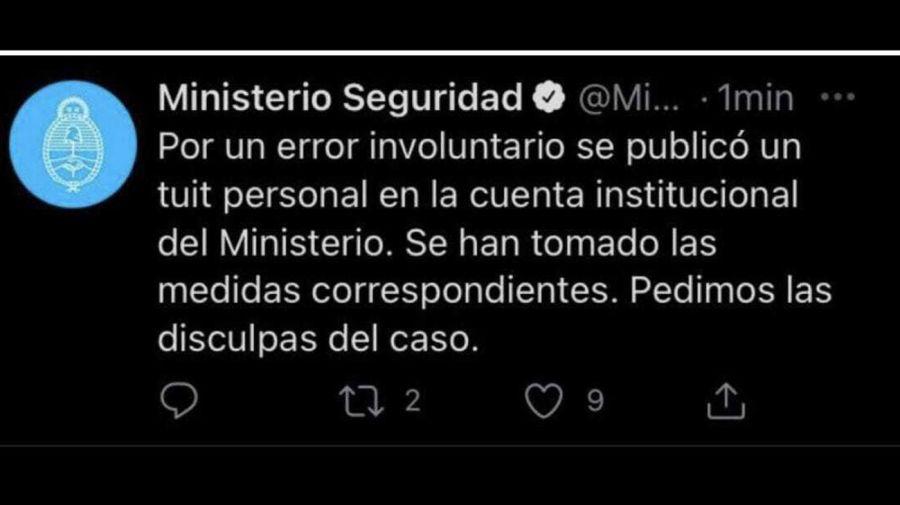 """El """"error involuntario"""" del ministerio de Seguridad en Twitter 20210419"""