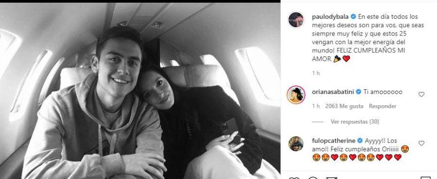 Paulo Dybala dedicó un tierno mensaje a Oriana Sabatini por su cumpleaños