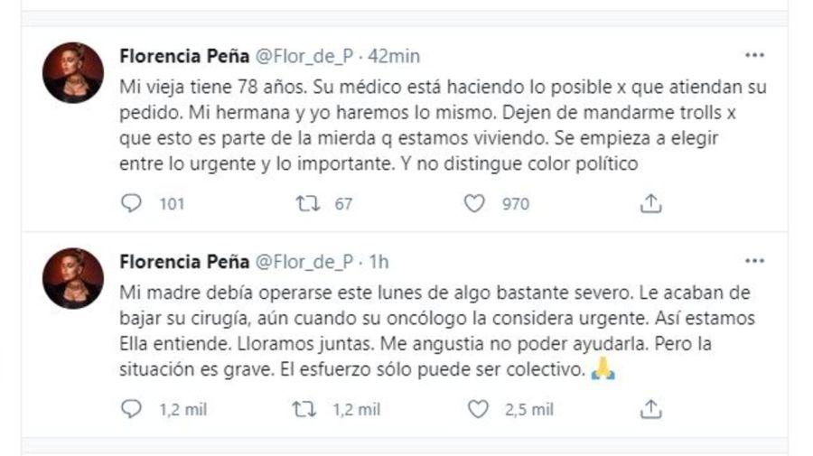 Florencia Peña y la salud de su madre