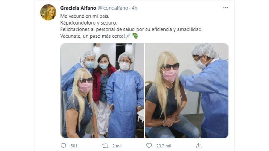 Graciela Alfano vacunada