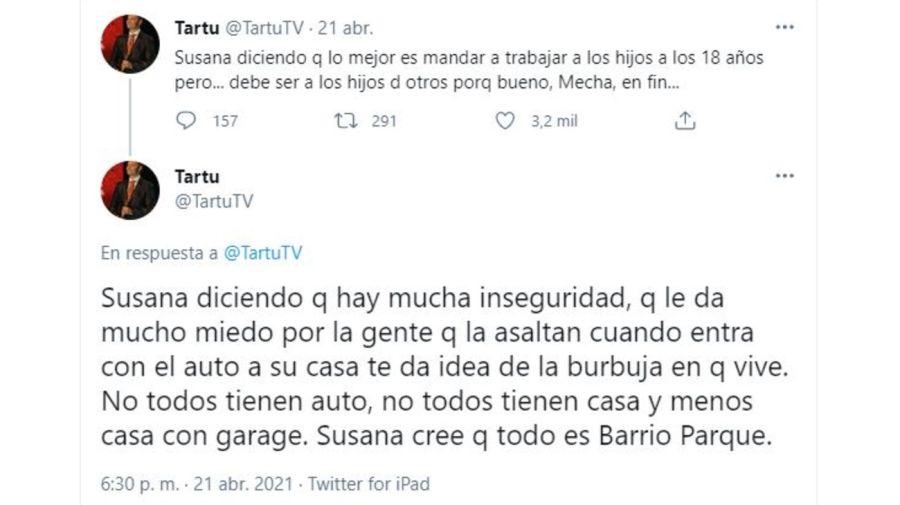 Tartu contra Susana Gimenez por Argenzuela