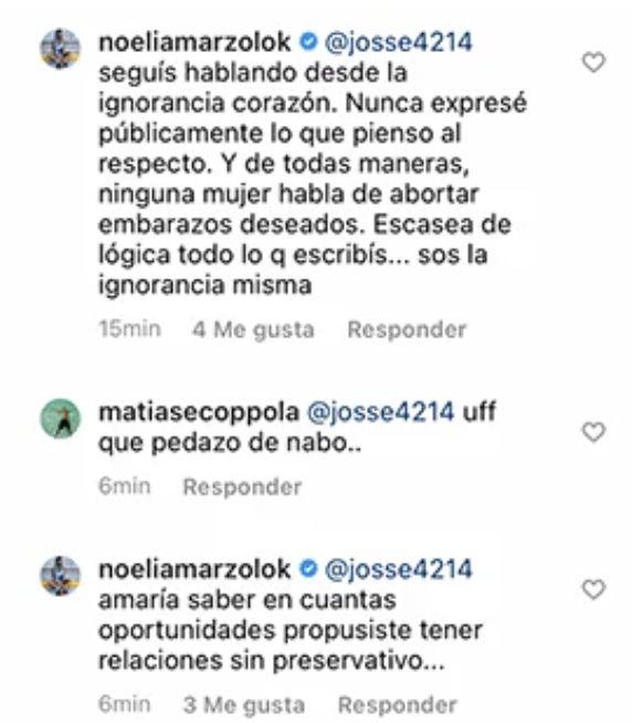 Noelia Marzol se cruzó brutalmente con un seguidor que le pidió que aborte a su hijo
