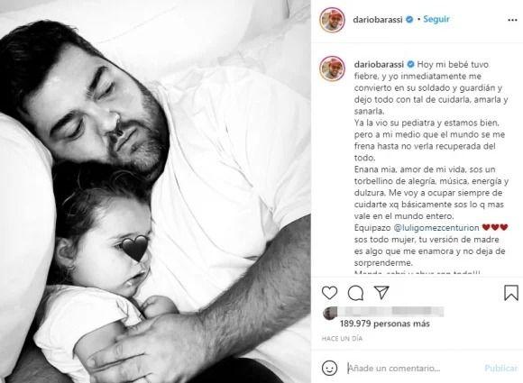 La preocupación de Darío Barassi por la salud de su hija