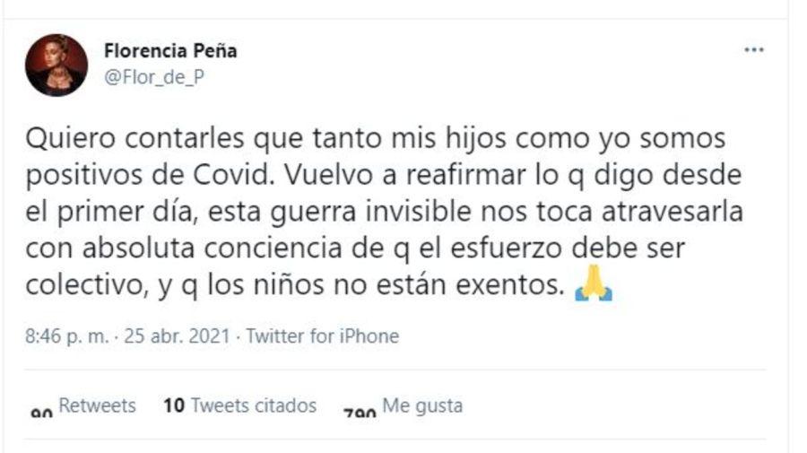 Florencia Peña COVID positivo
