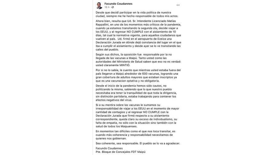 FB concejal maipu intendente aislamiento