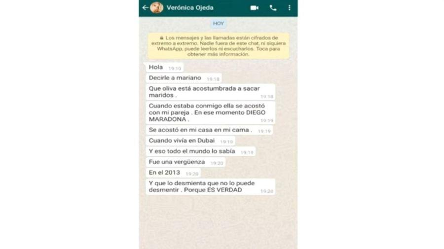 Mensaje de Veronica Ojeda contra Rocio Oliva