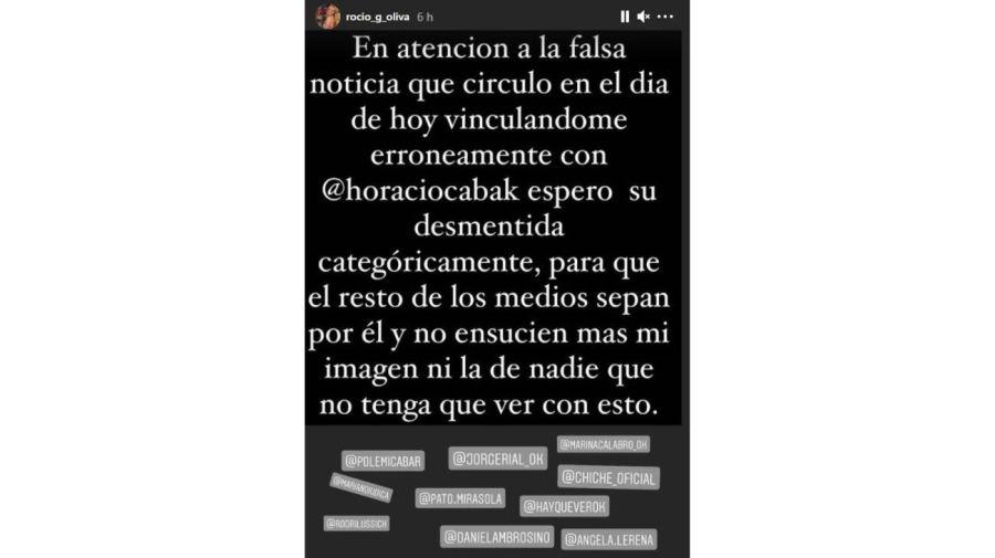 Rocio Oliva mensaje por Horacio Cabak