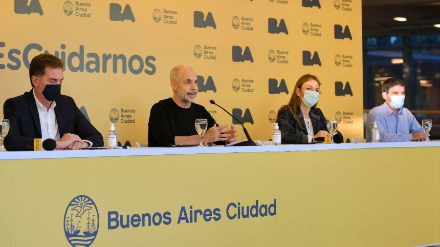Horacio Rodríguez Larreta durante los anuncios ante la segunda ola.