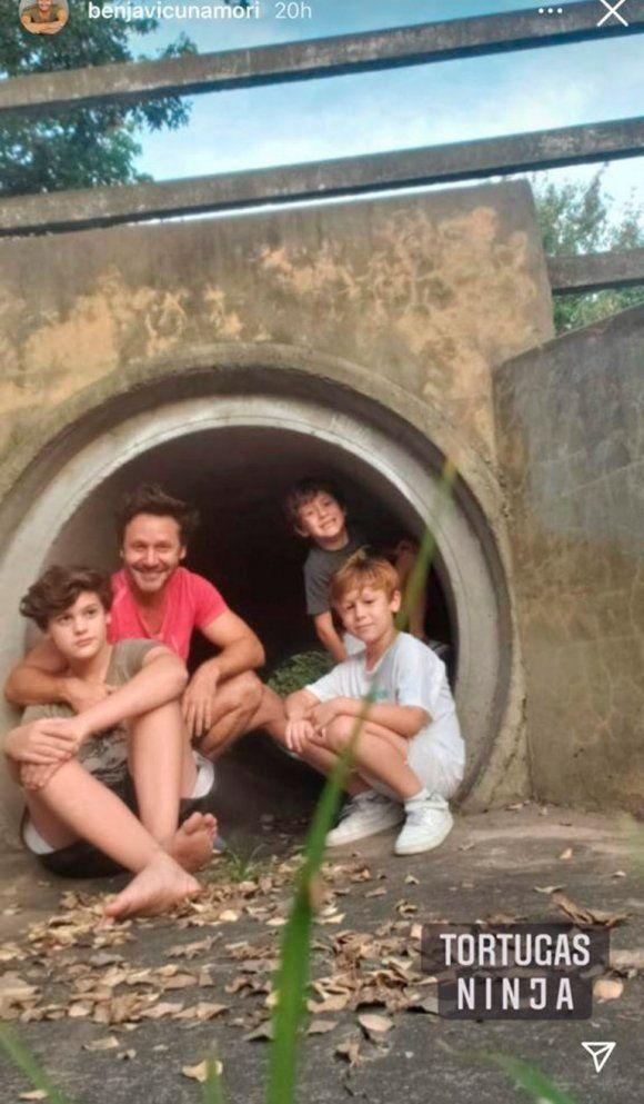 Benjamín Vicuña se reencontró con sus hijos
