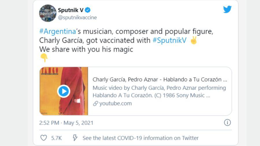 Sputnik V mensaje Charly García 0505