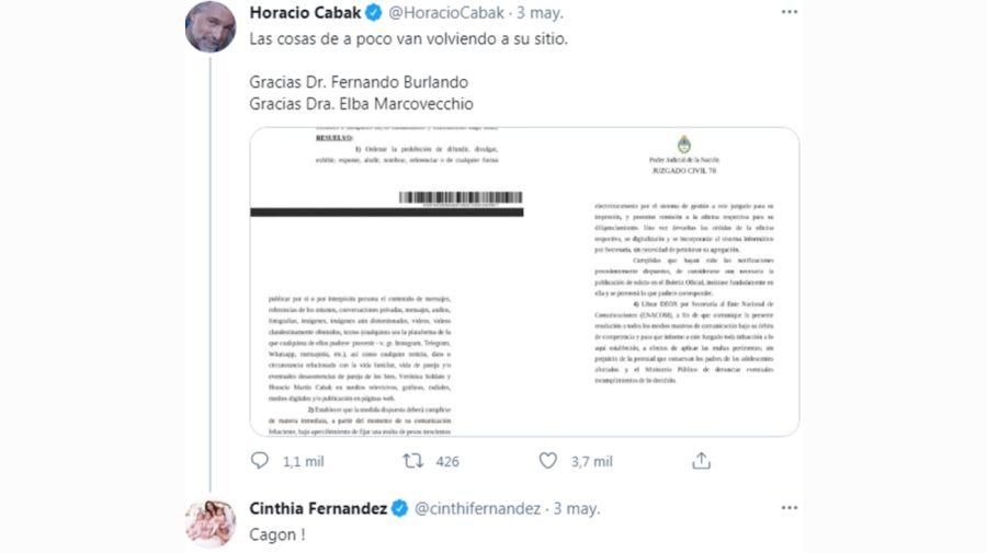 Cinthia Fernández contra Horacio Cabak tuit 0605
