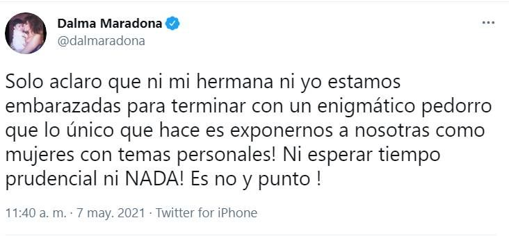 Marcela Tauro confirmó un embarazo en la familia Maradona y Dalma salió al cruce