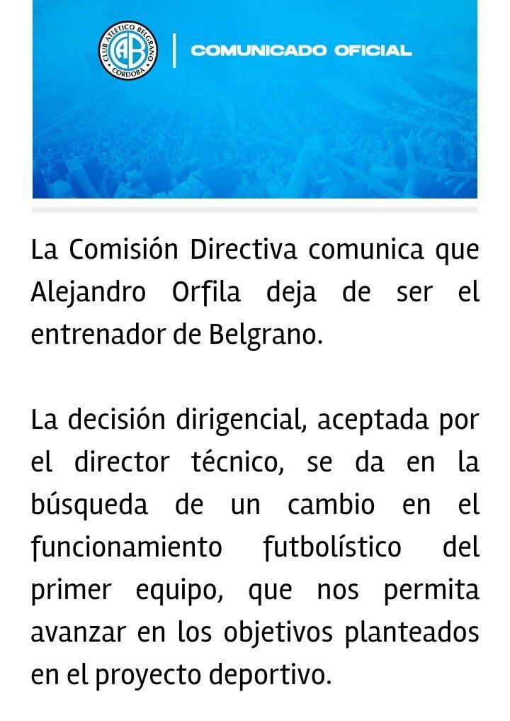 Comunicado Belgrano