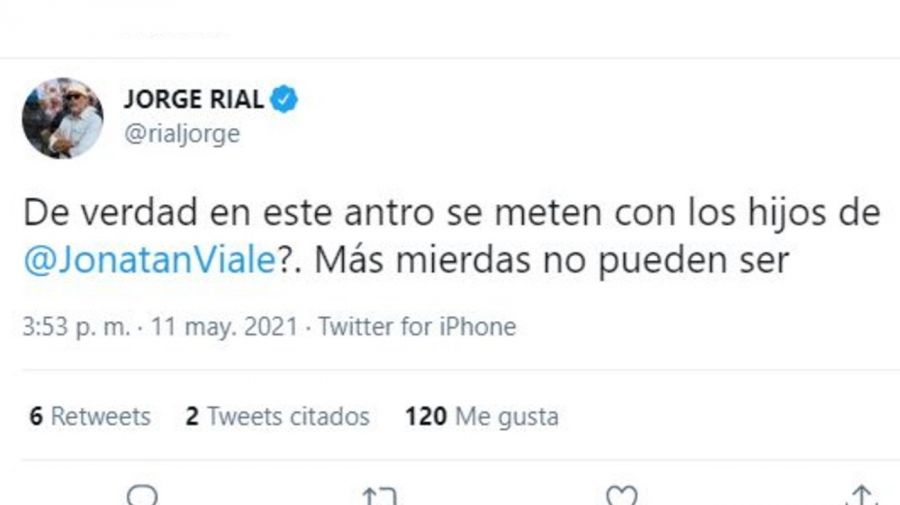 Tuit Jorge Rial por Jonatan Viale