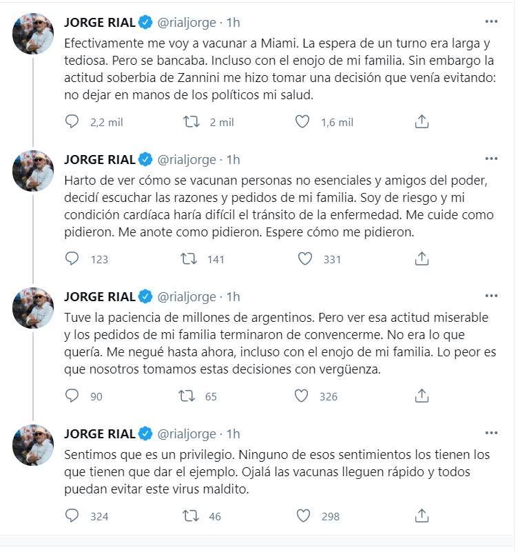 Jorge Rial confirmó que viajará a Miami para vacunarse contra el coronavirus