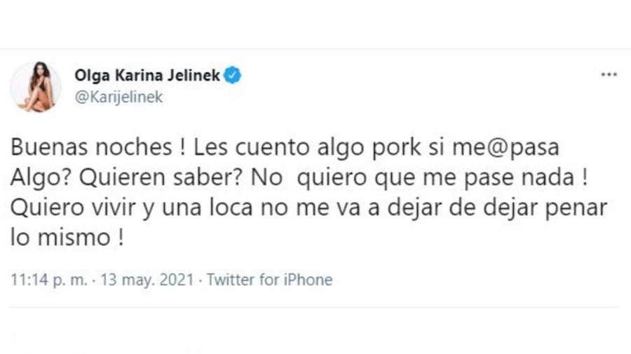 mensaje de Karina Jelinek en Twitter