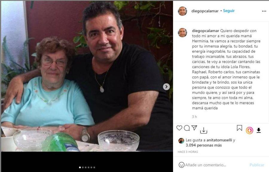 El dolor de Diego Pérez tras la muerte de su madre: